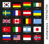 set of national flags of the... | Shutterstock .eps vector #795744754
