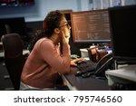 female programmer working on... | Shutterstock . vector #795746560