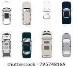 various cars from top view | Shutterstock .eps vector #795748189