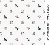 fashion pattern with flat shoes ... | Shutterstock .eps vector #795751600