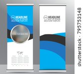 blue roll up business brochure... | Shutterstock .eps vector #795753148