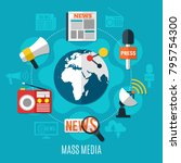 mass media design concept with... | Shutterstock .eps vector #795754300