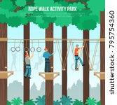 rope walking outdoor adventure... | Shutterstock .eps vector #795754360