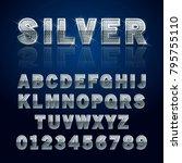 silver glossy alphabet letters... | Shutterstock .eps vector #795755110