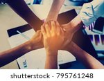 business handshaking process... | Shutterstock . vector #795761248