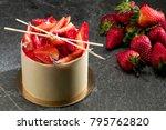 strawberry white chocolate... | Shutterstock . vector #795762820