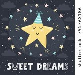 sweet dreams card with a cute...   Shutterstock .eps vector #795763186