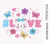 love hashtag. cute cat girl.... | Shutterstock .eps vector #795767113