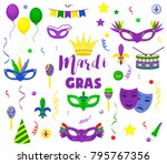 mardi gras carnival party... | Shutterstock .eps vector #795767356