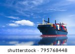 cargo ship carrying container... | Shutterstock . vector #795768448