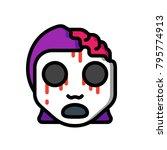 horror emoji   zombie girl  | Shutterstock .eps vector #795774913