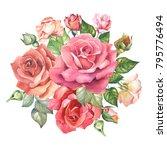 watercolor flowers bouquet of... | Shutterstock . vector #795776494