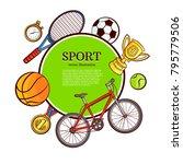 vector sketch sport symbols... | Shutterstock .eps vector #795779506