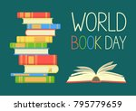 world book day. stack of... | Shutterstock .eps vector #795779659