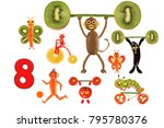 learning to count. cartoon...   Shutterstock . vector #795780376