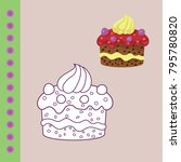 sweets coloring page for... | Shutterstock .eps vector #795780820