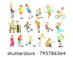 old people activities  flat... | Shutterstock .eps vector #795786364
