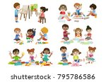 kids creativity practice | Shutterstock .eps vector #795786586