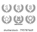 laurel wreath with numebrs 1  2 ... | Shutterstock .eps vector #795787669