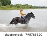 young lady rider galloping... | Shutterstock . vector #795789520