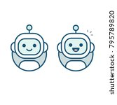 cute happy robot face avatar.... | Shutterstock .eps vector #795789820