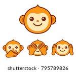 cute cartoon monkey face icon.... | Shutterstock .eps vector #795789826