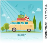 road trip  surf camp concept... | Shutterstock .eps vector #795790516