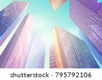 high skyscrapers with windows... | Shutterstock .eps vector #795792106