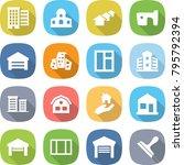 flat vector icon set   houses... | Shutterstock .eps vector #795792394