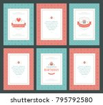 happy birthday greeting cards... | Shutterstock .eps vector #795792580