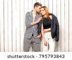 guy with a girl posing in the... | Shutterstock . vector #795793843