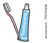 dental hygiene  toothpaste and... | Shutterstock .eps vector #795794608