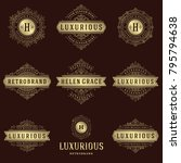 luxury logos templates set ... | Shutterstock .eps vector #795794638