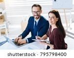 working together. top view of... | Shutterstock . vector #795798400