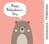 bear cartoon character standing ... | Shutterstock .eps vector #795800404