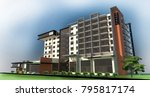 hotel building 3d illustration   Shutterstock . vector #795817174