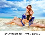 sun kissed beauty. happy... | Shutterstock . vector #795818419
