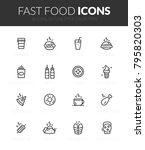 outline black icons set in thin ... | Shutterstock .eps vector #795820303