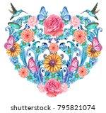 vintage baroque floral vignette ...   Shutterstock . vector #795821074