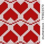 valentine knitted seamless...   Shutterstock .eps vector #795823570