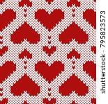valentine jacquard seamless...   Shutterstock .eps vector #795823573