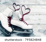old white skates for figure... | Shutterstock . vector #795824848