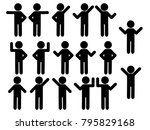 stick figure set people icons | Shutterstock .eps vector #795829168