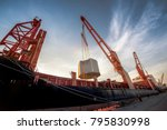 heavy lift ship handle heavy... | Shutterstock . vector #795830998