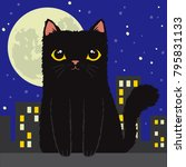 cartoon black cat silhouetted... | Shutterstock .eps vector #795831133