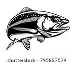 salmon fish.vintage salmon... | Shutterstock . vector #795837574