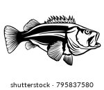 fishing logo.rock fish. bass... | Shutterstock . vector #795837580