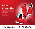 cream and serum with shining... | Shutterstock .eps vector #795837604