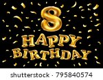 vector gold balloon font number ... | Shutterstock .eps vector #795840574