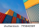 stack of containers box  cargo... | Shutterstock . vector #795840589